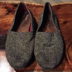 Toms Slip Ons. Grey/Black with Sparkle.